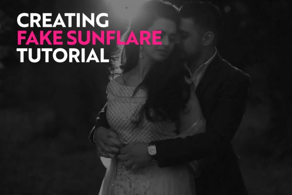making a fake sunset wedding photography